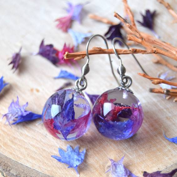 nausnice chrpa - Květinové náušnice - Kytky od potoka